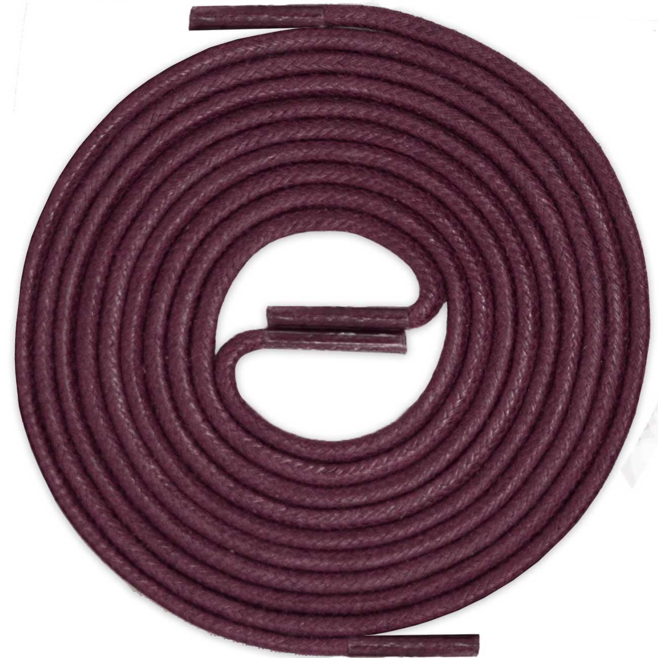 BURGUNDY Thin Elegant Round Waxed Shoelaces Diameter 2 mm