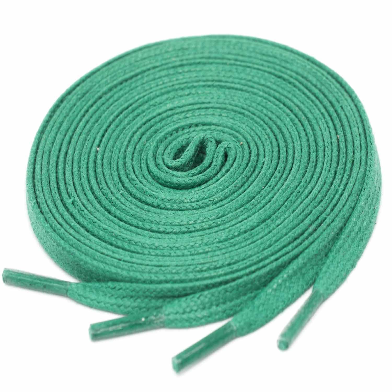 GREEN Flat Waxed Shoelaces width 4 mm 332