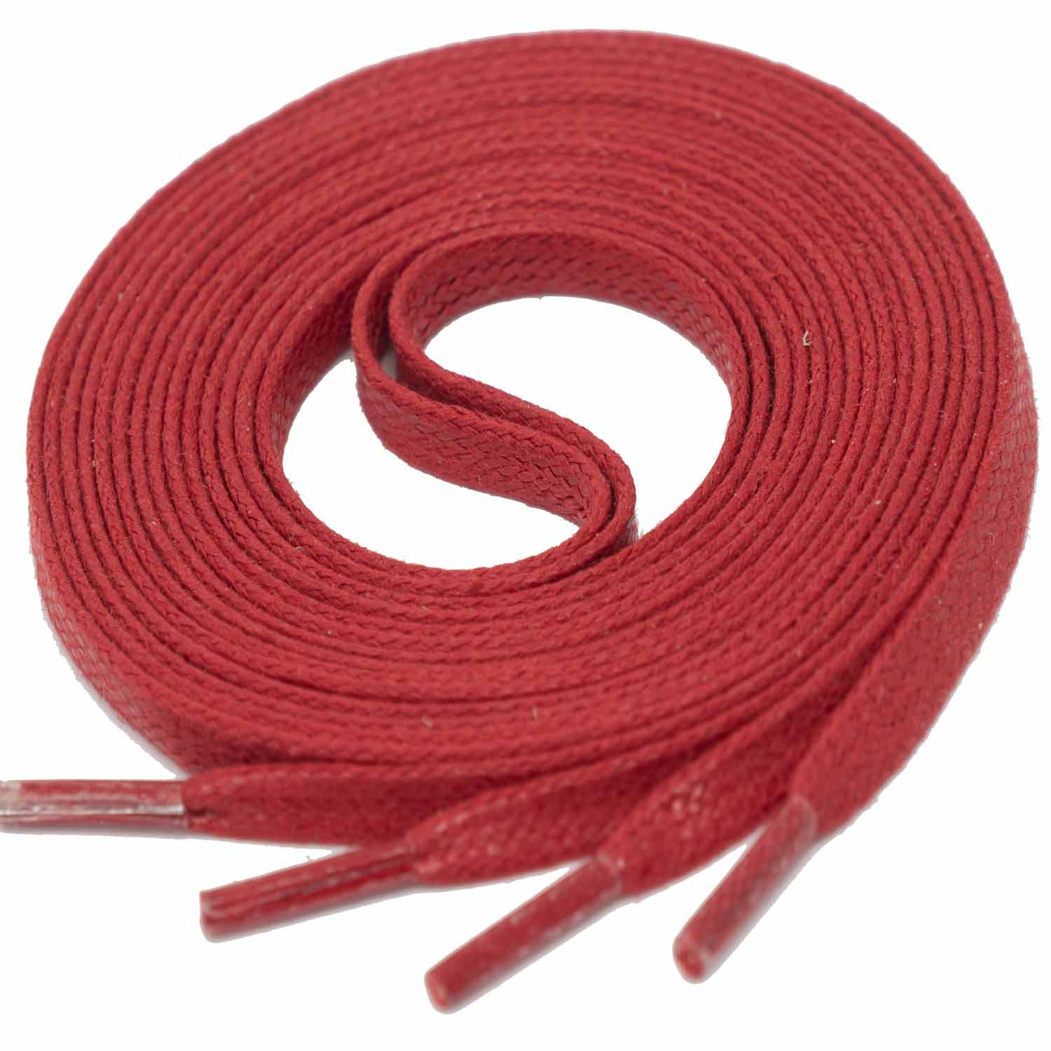 RED Flat Waxed Shoelaces width 4 mm