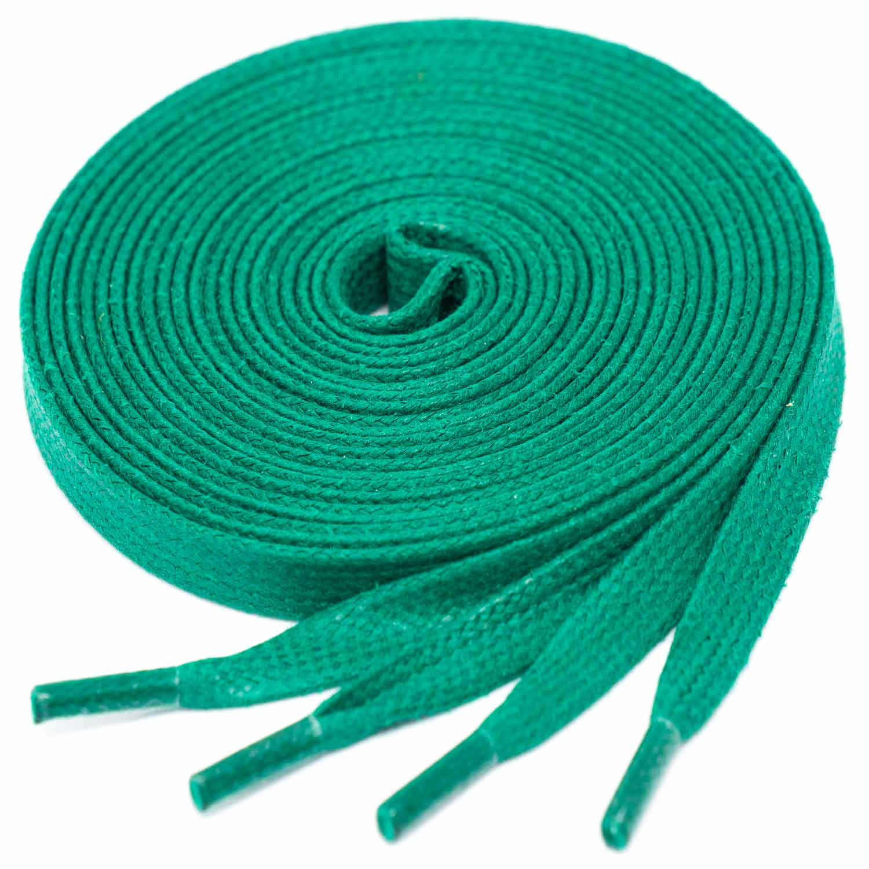 GREEN flat waxed shoelaces width 6 MM 366
