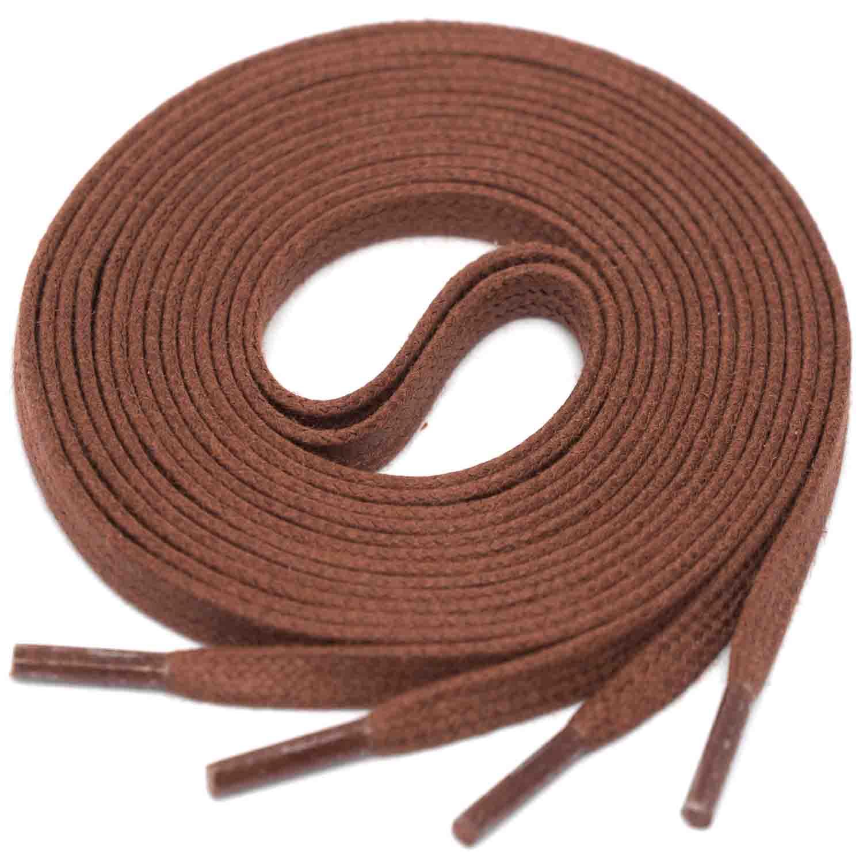 BROWN Flat Waxed Shoelaces width 4 mm
