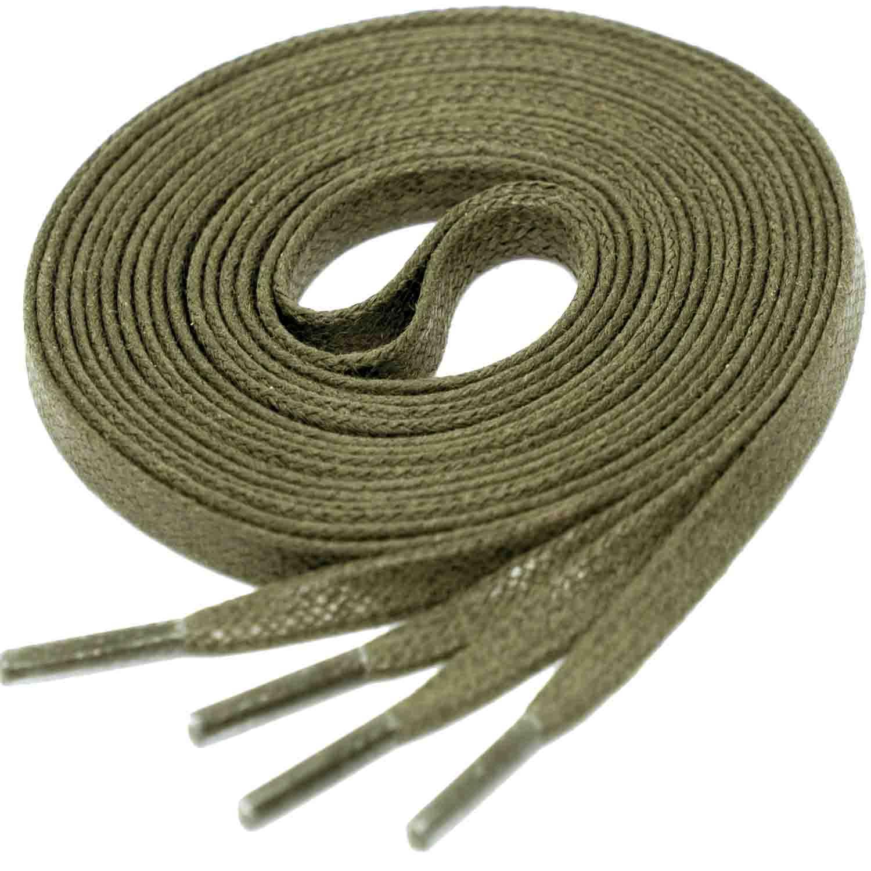 KAKI GREEN Flat Waxed Shoelaces width 4 mm