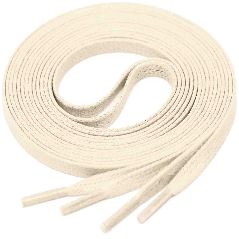 LIGHT BEIGE Flat Waxed Shoelaces width 4 mm