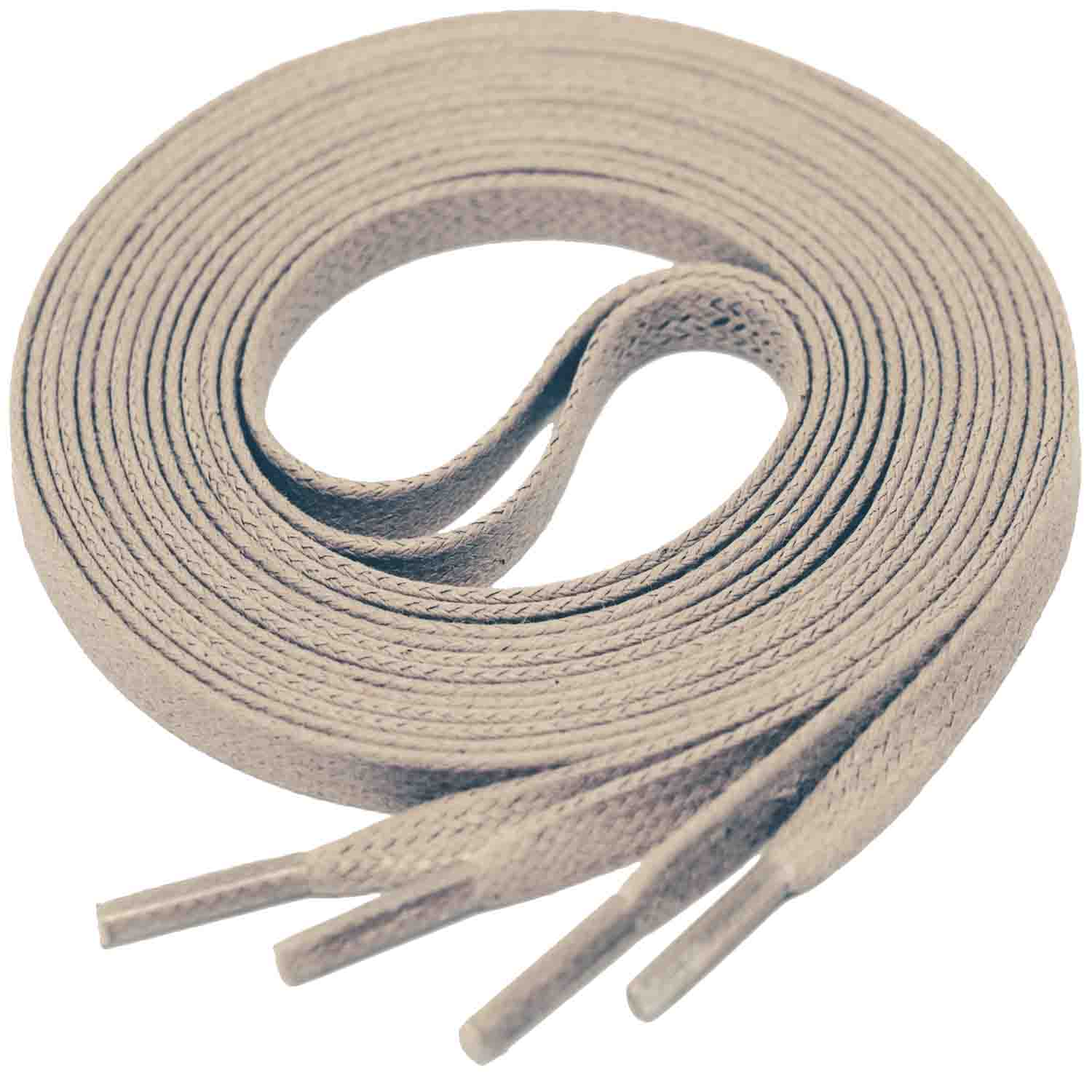 LIGHT TAUPE Flat Waxed Shoelaces width 4 mm
